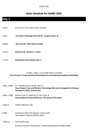 Download 2021 Ministers' Conference Schedule of Events